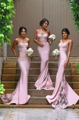 Sexy Sheath Spaghetti Straps Bridesmaid Dresses 2020 Cheap Evening Dress with Lace Appliques_4