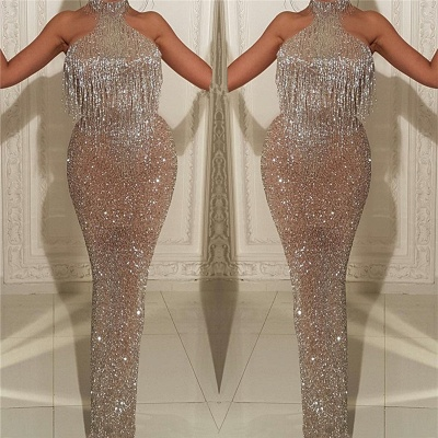 2020 Halter Sleeveless Sexy Prom Dresses with Tassels | Mermaid Sparkle Sequins Cheap Evening Gowns_3