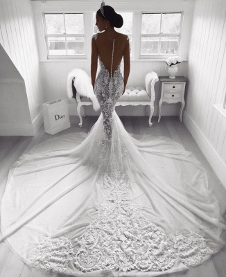 Charming Lace Mermaid Wedding Dress Long Zipper Button Back Bridal Gowns_3