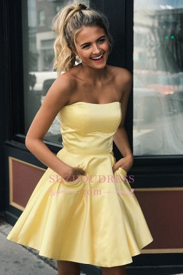 Sweet Short Strapless A-line Homecoming Dresses_2