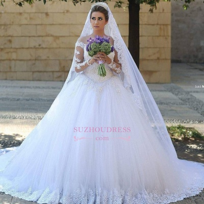 Puffy Tulle Ball Gown Bride Dress Appliques Long Sleeves Lace Elegant Long Train Wedding Dresses_2