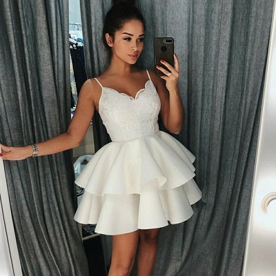 2020 Cheap A-Line Tiered Homecoming Dresses | Spaghetti Straps Appliques Short Hoco Dress_3