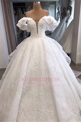 Ball-Gown Beaded Sequined Off-the-shoulder White Alluring Wedding Dresses_1