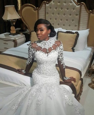 Elegant High Neck Lace Appliques  Wedding Dresses | Long Sleeves Crystal Sexy Mermaid Bridal Gowns_1