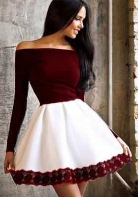 Simple Short Off-the-Shoulder Homecoming Dresses | Long Sleeves Lace Cheap Hoco Dresses_3