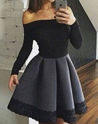 Simple Short Off-the-Shoulder Homecoming Dresses | Long Sleeves Lace Cheap Hoco Dresses_4