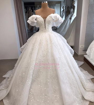 Ball-Gown Beaded Sequined Off-the-shoulder White Alluring Wedding Dresses_4