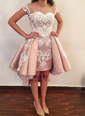 Short Pink Homecoming Dresses | 2020 Cap Sleeves Lace Appliques Party Dress WW0002_1