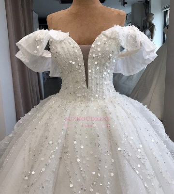Ball-Gown Beaded Sequined Off-the-shoulder White Alluring Wedding Dresses_3