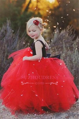 2020 Cheap Black Appliques Red Tulle Puffy Cheap Flowers Girl Dress_1