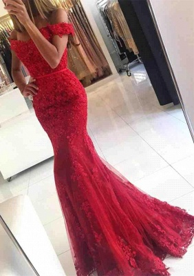 Glamorous Mermaid Lace Prom Dress 2020 Off-the-shoulder Red Appliques Evening Dress_1