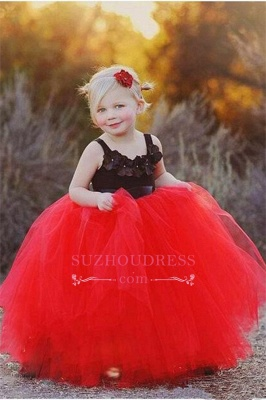 2020 Cheap Black Appliques Red Tulle Puffy Cheap Flowers Girl Dress_2