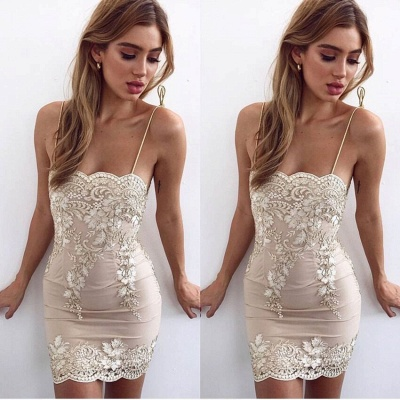 Sexy Sheath Spaghetti Straps Short Homecoming Dresses | 2020 Appliques Cheap Hoco Dresses_3