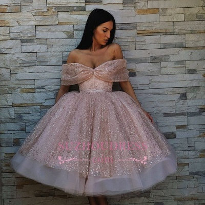 Chic Off-The-Shoulder Ball Gown Tulle Homecoming Dresses | Pink Puffy Short Prom Dresses On Sale_4