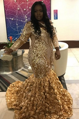 Gorgeous Gold Flower Long Sleeve Prom Dress | Shiny Sequins V-neck Evening Dresses_1