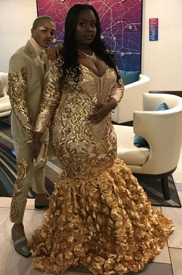 Gorgeous Gold Flower Long Sleeve Prom Dress | Shiny Sequins V-neck Evening Dresses_2