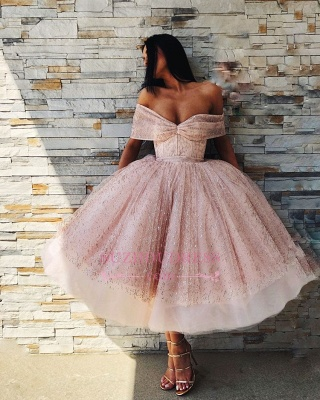 Chic Off-The-Shoulder Ball Gown Tulle Homecoming Dresses | Pink Puffy Short Prom Dresses On Sale_3