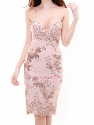 Short Deep-V-Neck Sheath Spaghettis-Straps Sexy Homecoming Dresses_4