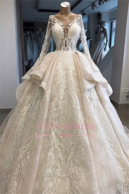 Amazing Layered Scoop Long-Sleeves Appliques Wedding Dresses_1