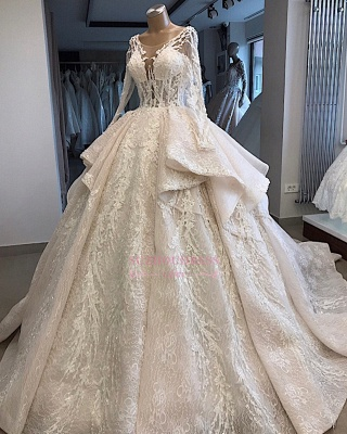 Amazing Layered Scoop Long-Sleeves Appliques Wedding Dresses_4