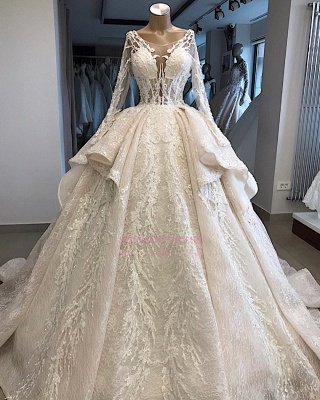 Amazing Layered Scoop Long-Sleeves Appliques Wedding Dresses_2