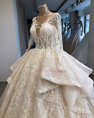 Amazing Layered Scoop Long-Sleeves Appliques Wedding Dresses_3