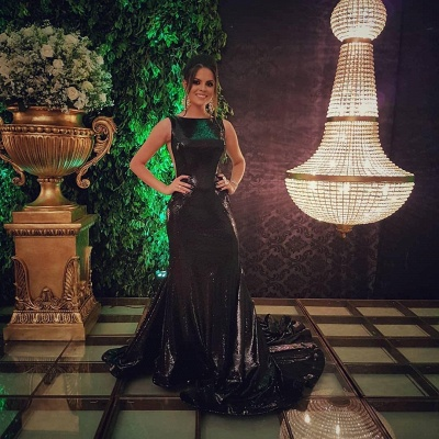 Sparkly Black Sequins Open Back Prom Dresses Cheap | Sleeveless Mermaid Evening Gowns 2020_4