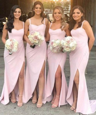 Straps Sexy Slit Cover Around Long Pink Bridesmaid Dresses Cheap Online_2