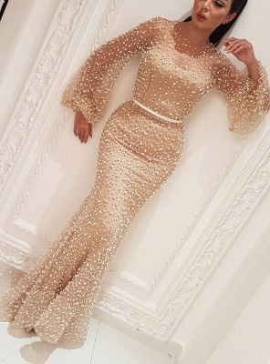 Sexy Long Sleeves Prom Dresses 2020 | Cheap Sheath Beaded Evening Dresses BC0932_2