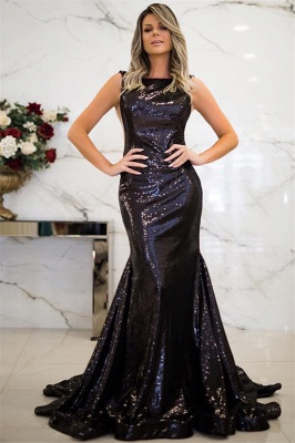 Sparkly Black Sequins Open Back Prom Dresses Cheap | Sleeveless Mermaid Evening Gowns 2020_1