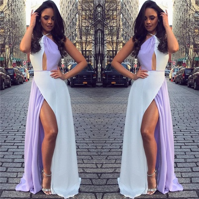 White and Lavender Sexy Split Evening Dresses Cheap | Halter Sleeveless Chiffon 2020 Formal Dress_4