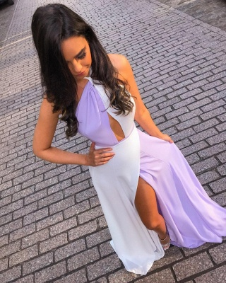 White and Lavender Sexy Split Evening Dresses Cheap | Halter Sleeveless Chiffon 2020 Formal Dress_3
