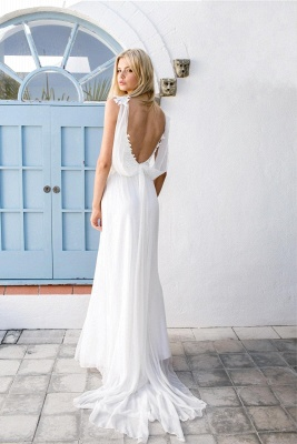 2020 Summer Beach Wedding Dresses Cheap Lace Chiffon Backless Bridal Dress with Sash_3