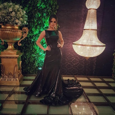 Sparkly Black Sequins Open Back Prom Dresses Cheap | Sleeveless Mermaid Evening Gowns 2020_6