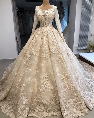 Appliques Ball-Gown Scoop Excellent Long-Sleeves Wedding Dresses_4