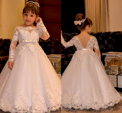 Lovely White Long Sleeves Flower Girl Dresses | Off Shoulder Lace Appliques Pageant Dress_3