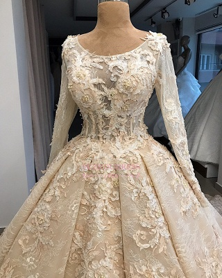 Appliques Ball-Gown Scoop Excellent Long-Sleeves Wedding Dresses_2