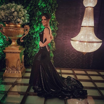 Sparkly Black Sequins Open Back Prom Dresses Cheap | Sleeveless Mermaid Evening Gowns 2020_5