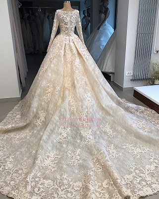 Appliques Ball-Gown Scoop Excellent Long-Sleeves Wedding Dresses_3
