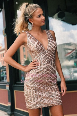 Sequined Sheath Alluring V-neck Cocktail Dresses_2
