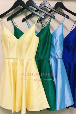 Spaghetti-Straps Cute A-Line V-neck Homecoming Dresses_1