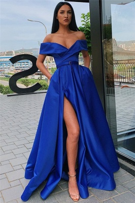 Off The Shoulder Sexy Slit Long Formal Dresses Cheap Online_4