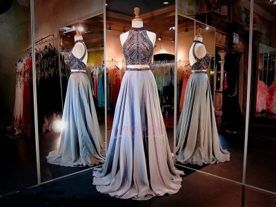 High-Neck Gorgeous A-line Crystals Two-Piece Evening Dress_2