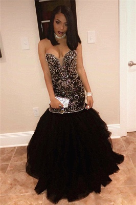 Sexy Sweetheart Beads Prom Dresses 2020 | Mermaid Black Sequins Cheap Evening Gown FB0275_4