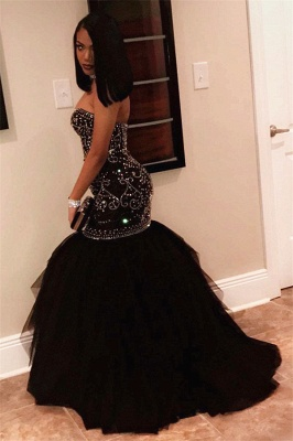 Sexy Sweetheart Beads Prom Dresses 2020 | Mermaid Black Sequins Cheap Evening Gown FB0275_3