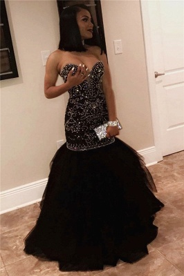 Sexy Sweetheart Beads Prom Dresses 2020 | Mermaid Black Sequins Cheap Evening Gown FB0275_1