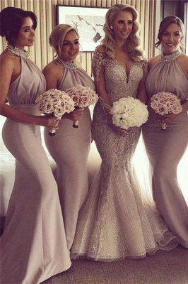 Halter Open Back Mermaid Bridesmaid Dresses Cheap | Sexy Sleeveless Cheap Maid of Honor Dresses 2020_1