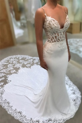 Sexy Mermaid Spaghetti Straps Wedding Dresses | 2020 Lace Open Back Bridal Gowns EN0025_2