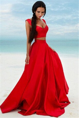 Sexy Two Piece Red Formal Dresses 2020 Cheap Sleeveless Evening Gown BA7932_1