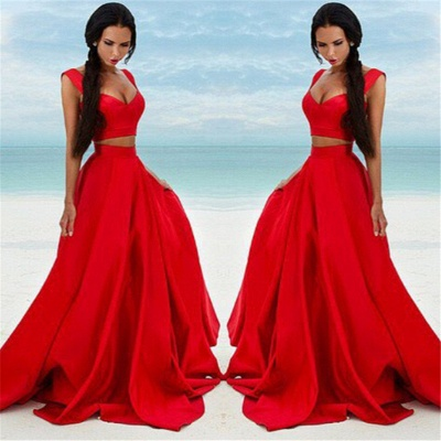 Sexy Two Piece Red Formal Dresses 2020 Cheap Sleeveless Evening Gown BA7932_3